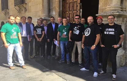 Un grupo de mineros acudió al pleno de la Diputación