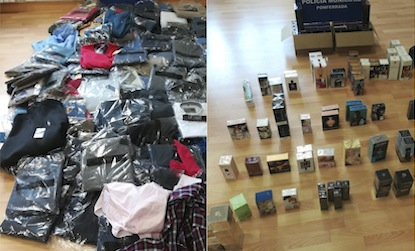 Ropa y cosméticos intervenidos en el mercadillo por la Policía Municipal